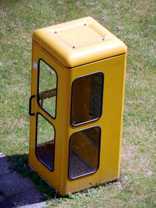 Phone Booth Dispensary Phone Telephone Old Yellow