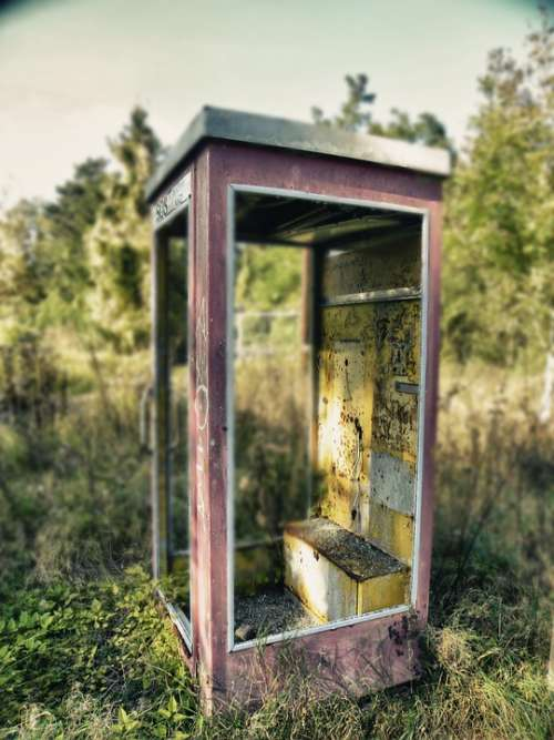 Phone Booth Old Nature Abandoned Ruin