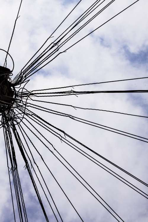 Phone Lines Mast Sky Biodata Power Lines Wires