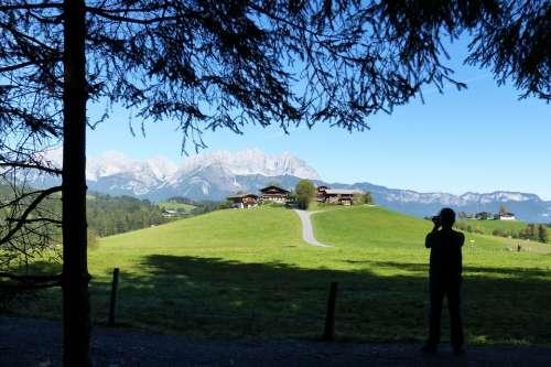 Photographer Silhouette Hill Farm Wilderkaiser