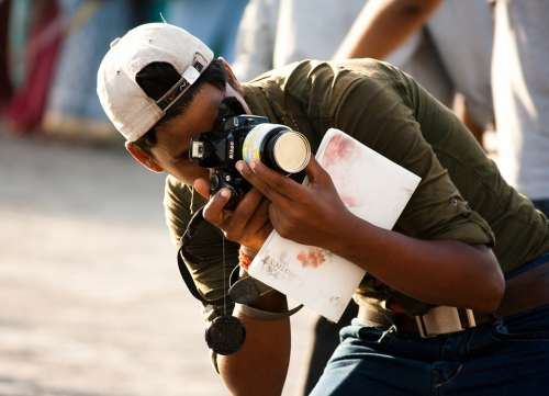 Photographer Camera Taking Pictures India Indian