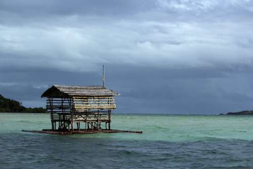 Picnic House Floating House Sea Beach Water Nature