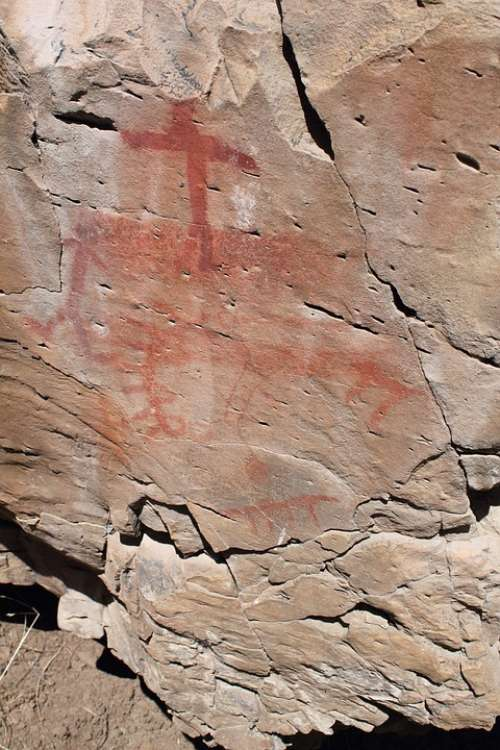 Pictograph South Fork Rock Art Drawing