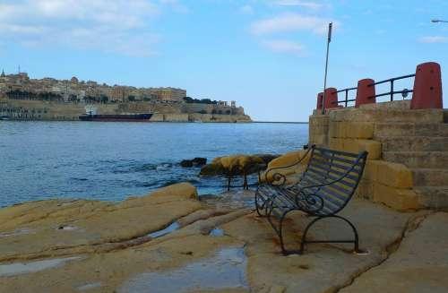 Picturesque La Valletta Water City Sea Bank Malta