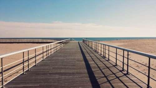 Pier Ocean Beach Walkway Handrail Balustrade Sea