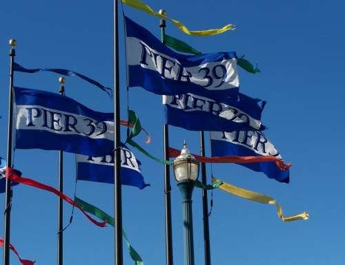Pier 39 San Francisco Flags California Blue White