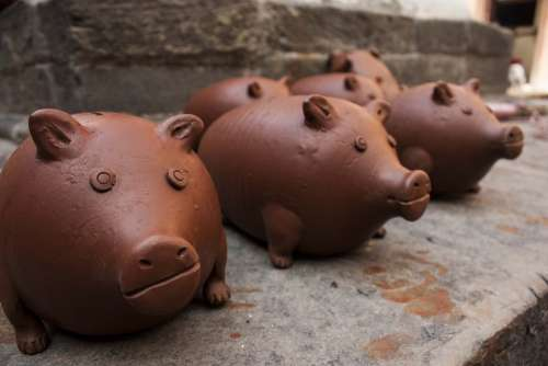 Piggy Piggy Bank Finance Clay Clay Art Pottery