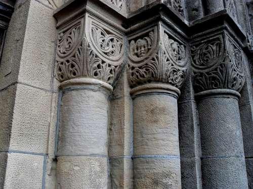 Pillars Church Old Stone Structure Vintage