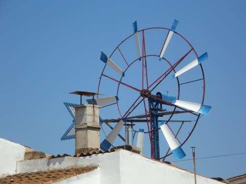 Pinwheel Metal Wheel Wind Wind Energy Energy Blue