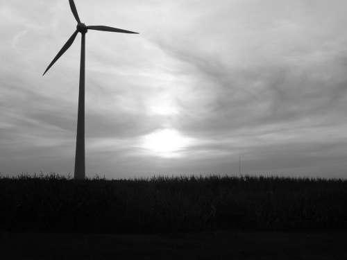 Pinwheel Wind Power Wind Energy Sunset