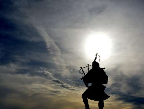 Pipe Man Against Day Sun Cloud Contrast Sky