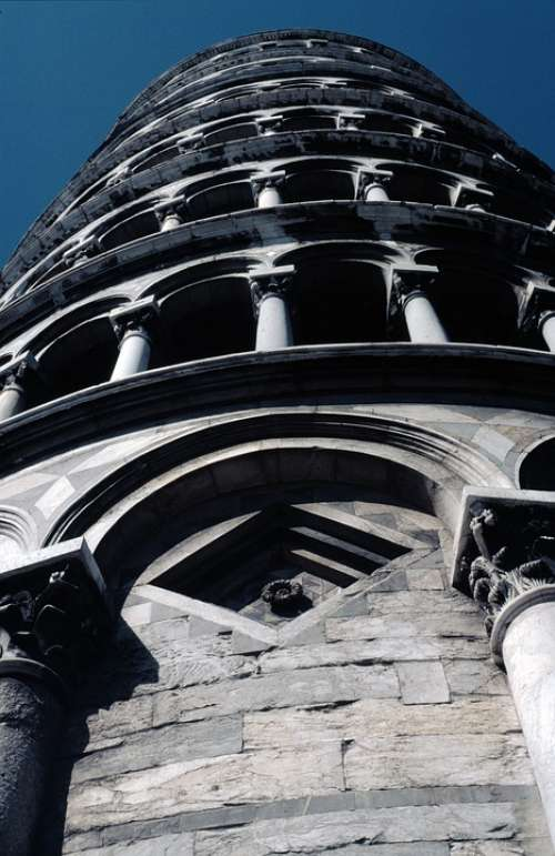 Pisa Leaning Tower Campanile Italy Columnar