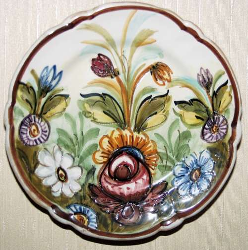 Plate Porcelain Wall Decoration Nippes Colorful