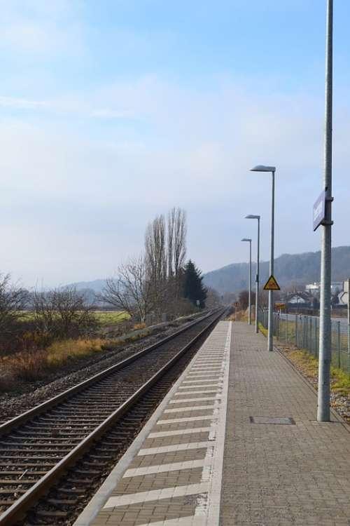 Platform Railway Station Sun Sky Blue Rails