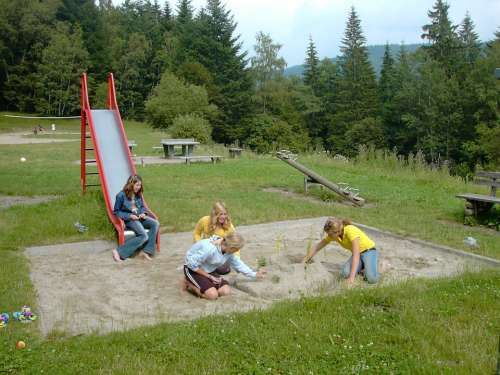 Playground Sand Pit Slide See Saw Girl