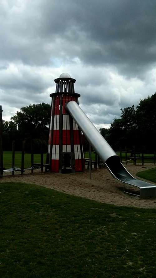 Playground Lighthouse Slide Children Fun