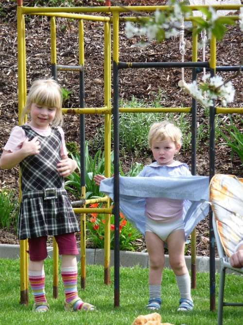 Playground Play Children Girl Climb Dresses Blond