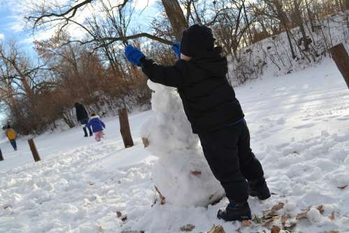 Playing Snowman Building Winter Play Snow