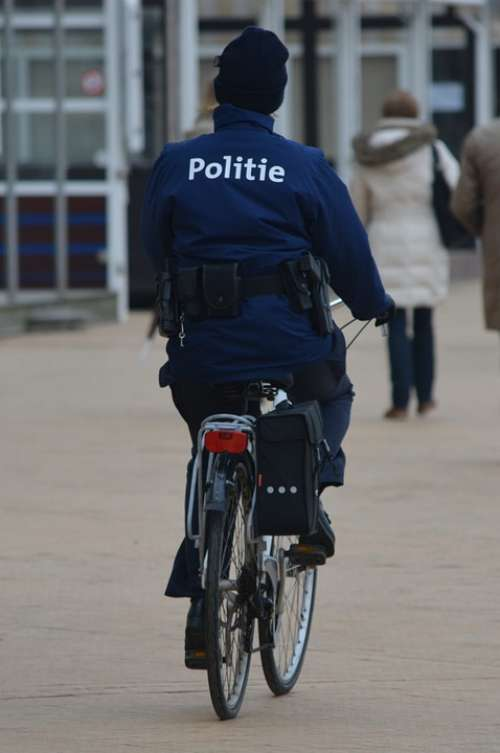 Police Uniform People Agent Bicycle Blue