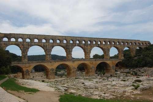 Pont Du Gard Romans Antique Archaeology Aqueduct