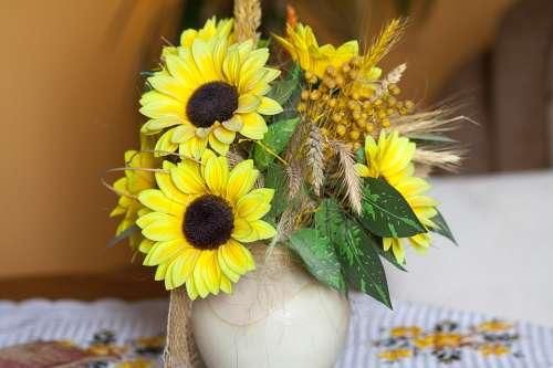 Porcelain Vase Clear Decoration Flower Sunflowers
