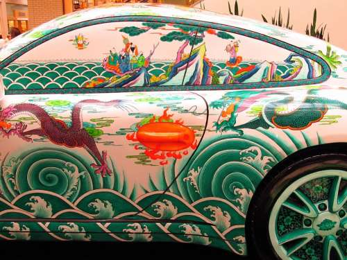Porsche Oriental Painting Side View Asian Custom