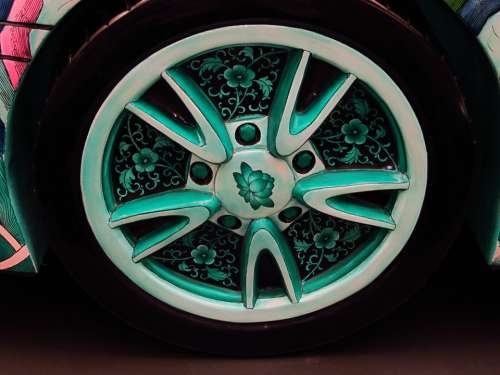 Porsche Wheel Oriental Asian Motif Theme Art