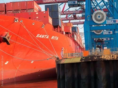 Port Ship Hamburg Port Cranes Freighter Container