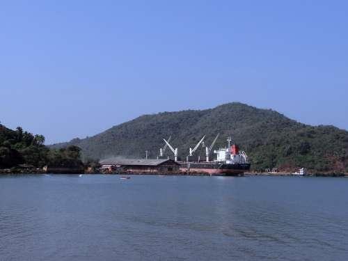 Port Ship Arabian Sea Karwar Western Ghats India