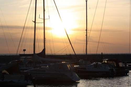 Port Boats Sailor Lubmin Harbor Evening Sun Sea