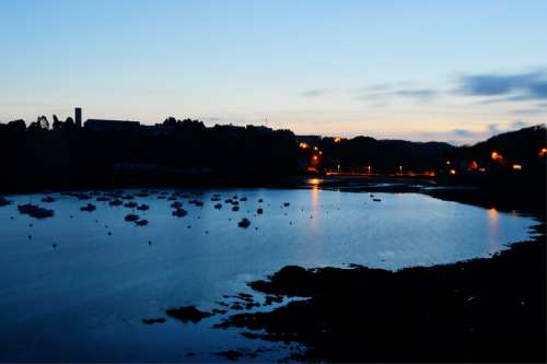 Port Sea Ocean Night Blue Finistère Brittany