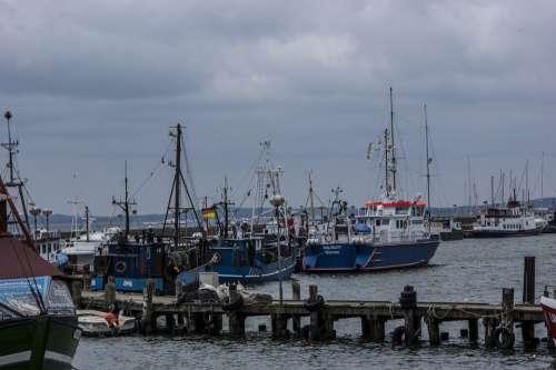 Port Ships Water Boats Clouds Dark