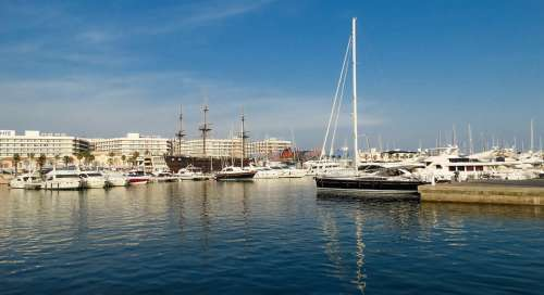 Port Boat Sea Spring Landscape Europe Valencia