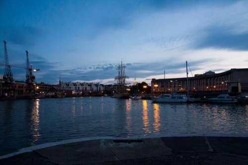 Port Cranes Industry Water Ship Sea Clouds