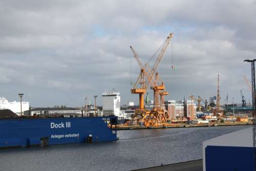 Port Bremen Bremerhafen Cranes Port Facility Water