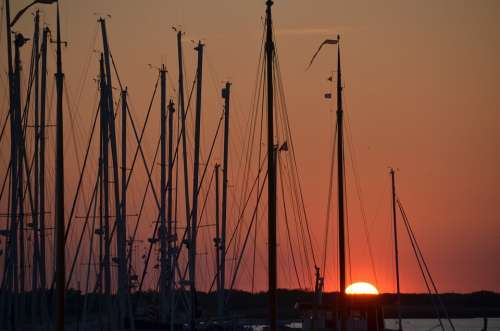 Port Sunset Ships Boats Vacations Sail Helm