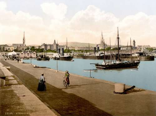 Port Dublin City Ships Kingstown Photochrom 1895