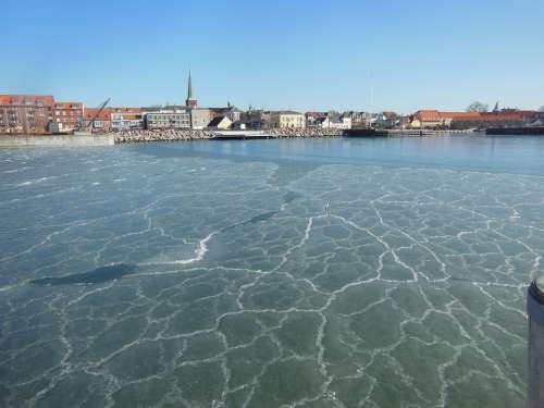 Port Ice Pancake Ice Harbor Blue Sunny Blue Sky