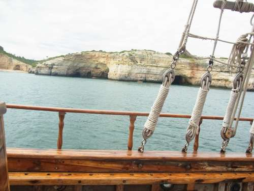 Portugal Algarve Rocky Coast Sailing Vessel