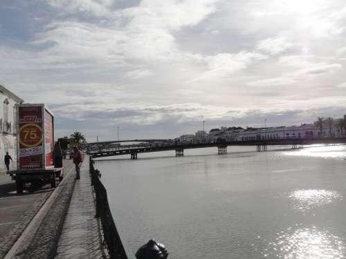 Portugal Tejo River Bridge Backlighting Cloudiness