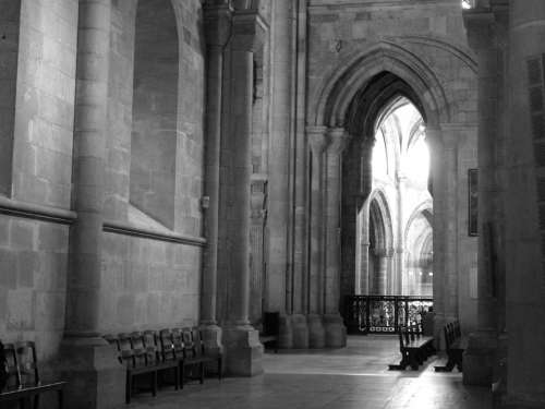 Portugal Church Black And White Arches
