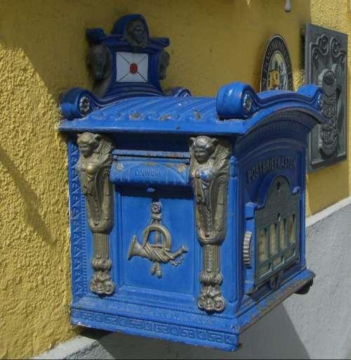 Post Mail Box Nostalgia Mailbox Blue Letter Boxes
