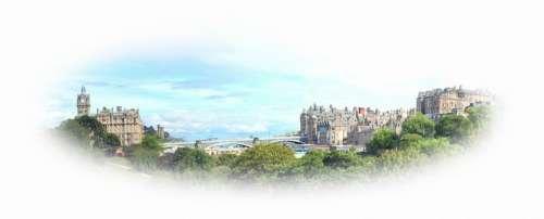 Postcard Edinburgh Scotland City Cityscape Bridge
