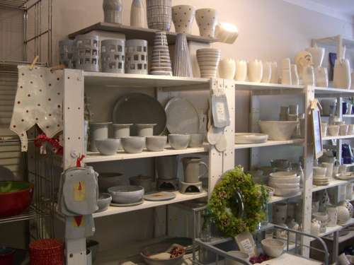 Pottery Ceramic Shelf White Grey Potter