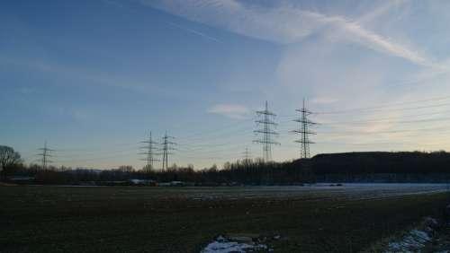 Power Poles Power Lines Landline Sunset Landscape