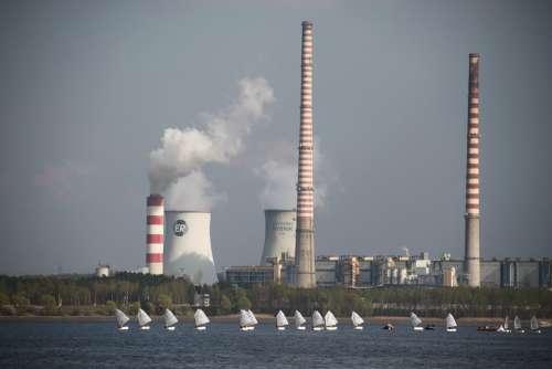 Power Station Smoke Chimneys Sails Lake