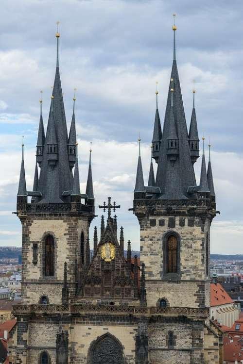Prague Detail History Architecture Tower Cross