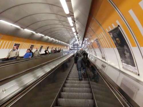 Prague Metro Escalator