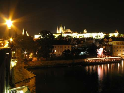 Prague Praha Castle Night Night Photo Lantern