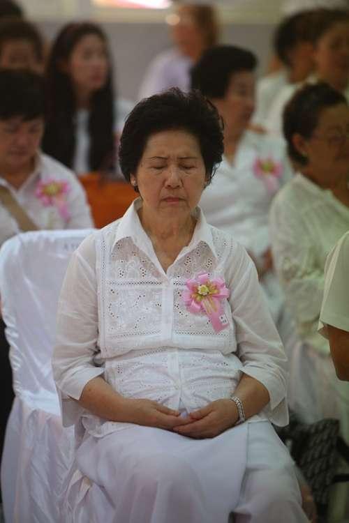 Praying Buddhists People Thailand Asia Woman